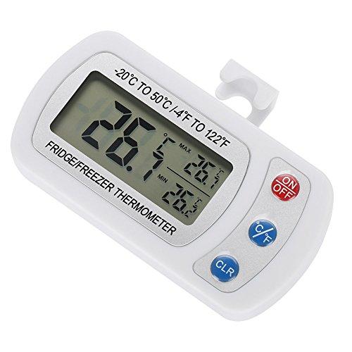 Digitale koelkastthermometer (-4 ° F tot 122 ° F), realtime temp. Timer met LCD digitaal display, hangend / op tafel geplaatst vochtbestendige koelkast / vriezer