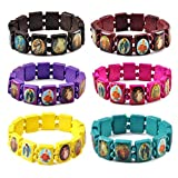 yantu Elastic Strechable Wooden Small Panel Bracelet with Images of Religious Saints, Jesus and Rosary (colors(7pcs))