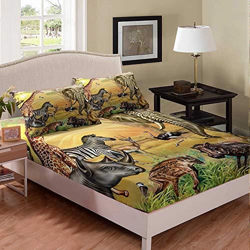 Castle Fairy Wild Animals Theme Deep Pocket Fitted Sheet Sheet Twin Elephant Hyena Zebra Giraffe Print Kids Duvet Sheet Ostrich Wild Boar 2 PCS Bed Sheet Sets(1 Fitted Sheet 1 Pillow case)