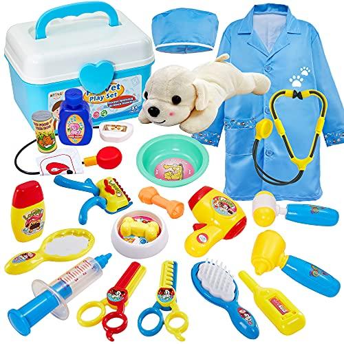 Buyger 2 in 1 Giochi Veterinario Valigetta Dottore Bambini Giocattolo con Cane Peluche Costume Dottore, Giochi Bambina Bambini 3 Anni