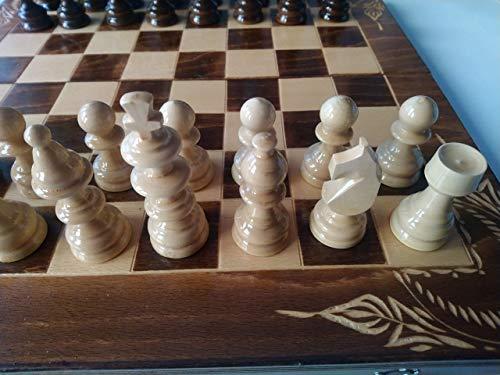 Juego de ajedrez de madera marron, backgammon, damas, 44x44 cm caja de tablero de ajedrez de madera de haya tallada, pieza de ajedrez de madera avellana, juego de mesa educativo, juguete, regalo