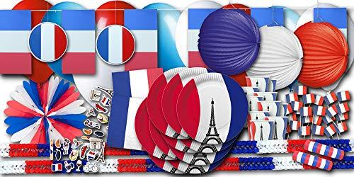 Frankreich Flagge Party Set XXL - Partydeko und Partygeschirr im Sparset