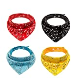 PAWCHIE Dog Bandanas Small 4 Pcs 8 Styles Pet Triangle Scarf Bibs - Adjustable with Two Snaps - Kerchief Set Accessories for Dogs, Puppy, Cats