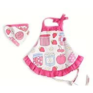 CRB Childrens Bakeware Chef Owl Girls Toddler Kids Apron with Matching Cute Headscarf Outfit Set (4T to 5T (Apples))