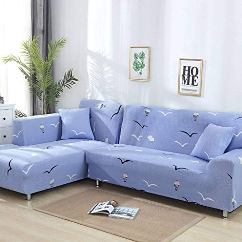 JHLD Fundas para Sillones para 1 2 3 4 Plaza, Elástica Cubre Sofa Color Impresión Stretch Poliéster Tela Funda Sofá para Niños Mascota-F-2Asiento 145-185CM (57-72.5inch)