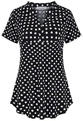 Tencole Womens Notch V Neck Plaid Tunic Shirts Short Sleeve Blouse Office Tops