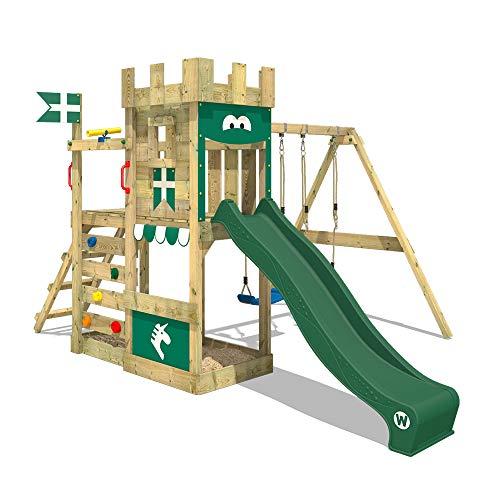 WICKEY Spielturm Ritterburg RoyalFlyer mit Schaukel & grüner Rutsche, Spielhaus mit Sandkasten, Kletterleiter & Spiel-Zubehör