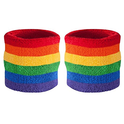 Suddora Striped Wrist Sweatbands - Athletic Cotton Terry Cloth Wristbands for Sports (Pair) (Rainbow)