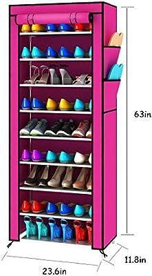 Taotao Estante para Zapatos Estante para Zapatos Multiusos Estante para Zapatos Estante de Zapatos multifunción (Color : Rosa roja)