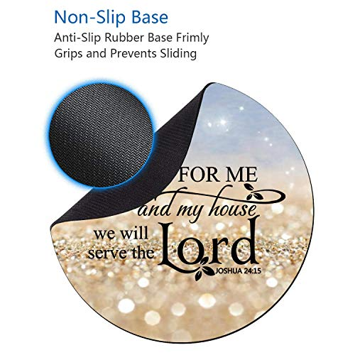 BWOOLL Round Mouse Pad and Coasters Set, Rainbow Glitter Mouse Pad, Quote Christian Bible Verses Joshua 24:15 Mouse Pad, Non-Slip Rubber Base Mouse Pads for Laptop and Computer Photo #5