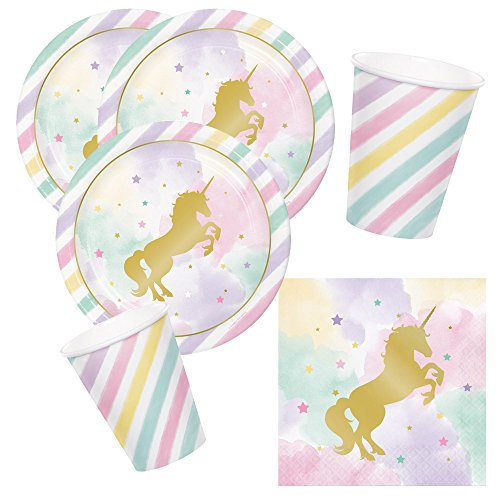 Unbekannt 32-teiliges Party-Set goldenes Einhorn - Unicorn Sparkle - Teller Becher Servietten für 8...