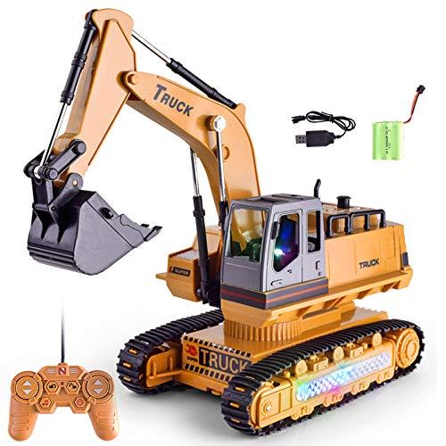ZUJI Excavadora Teledirigido 2.4G 1:18 8 Canales RC Excavadora Juguete Grande Excavadora Electrica Vehículos de Construcción para Niños