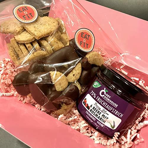 Eat to Fit Tea Time Zuckerfreies Kekse-Set - Herz-Kekse - Vanille Kekse mit Beere Mix Fruchtaufstrich - ohne Zucker - Diabetiker Schokolade