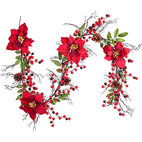 DearHouse 5.3 Ft Berry Christmas Garland, Artificial Poinsettia Garland with Red Berries and Holly Leaves, Pine Cone Garland for Winter Holiday New Year Decor