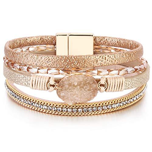 FANCY SHINY Leather Wrap Bracelet Boho Cuff Bracelets Crystal Bead Bracelet with Magnetic Clasp Jewelry Gifts for Women Teen Girls(7.7', Gold)