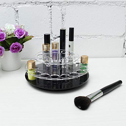 Delighted Clear Acrylic 28 Holes Makeup Brush Organizer Cosmetic Display Holder 360 Rotate