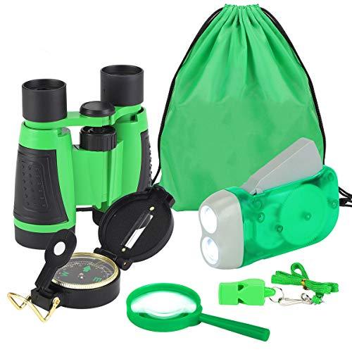 6 pezzi set avventura per bambini, apprendimento e esplorazione della natura set di giocattoli con lente di ingrandimento binocolo fischio torcia elettrica bussola borsa kit di esplorazione (blu)