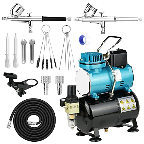 Airbrush kit with Air Tank Compressor System 1/5HP Airbrush Compressor with Cooling Fan Air Filter Auto On/Off and 2 Gravity Feed Airbrush kit with Wrench,Holder and Airbrush Cleaning Needle Brush