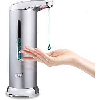 UNO' Dispensador Gel Hidroalcoholico 280ML, Dispensador de Jabón Automatico con Acero Inox, Sensor de Movimiento por Infrarrojos, Base Impermeable IPX4, Ideal para Baño, Cocinas, Negocios, Etc.