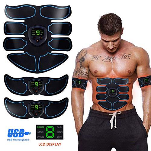 Electroestimulador Muscular, Abdominales Cinturón, Estimulador Muscular Abdominales, Masajeador Eléctrico Cinturón con USB, EMS Ejercitador del Abdomen/Brazo/Piernas/Cintura (Hombre/Mujer)