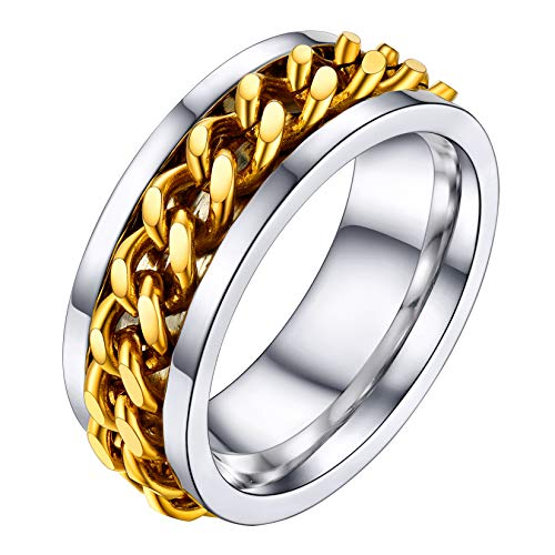 ✿ Base material: Stainless Steel. 18K Gold Plated. Nickel free. ✿ Design Inspiration: Classic cuban chain ring, Rotatable and two-tone design, punk street style jewellery. ✿ Size: Width: 8mm(0.3 inch), UK size Q (US size 8). ✿ Perfect Gift: Comes in ...