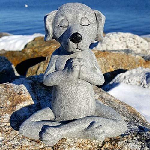 Hundebuddha, meditierende Hundestatue - Yoga-Hundegarten-Dekor, Frühlingsdekorationen für zu Hause, Tischdekoration, Hundebuddha-Statue für Zen-Stimmung, Blumenbeet, Yoga-Raum, im Freien (Hund#03)