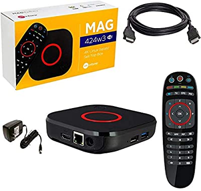 Mag 424 W3 4K 2160P HEVC Support, 600Mbps Built-in Dual Band 2.4G/5G WiFi, Bluetooth, HDMI Cable, 1 GB RAM, 8 GB Flash (Much Faster Than Mag 324w2 and 322W1)