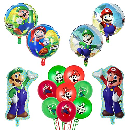 CBOSNF Mario Globo Cumpleaños Fiesta De Super Mario De Aluminio Látex De Mario Bros 14 Piezas Super Mario Decoración De Cumpleaños Mario Bros Fiesta De Cumpleaños Juego Mario Decoración