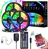 GLOBAL GOLDEN 50FT LED Strip Lights, RGB Light Strips Kit with 44 Keys IR Remote 5050 SMD 12V, DIY Color Changing Bright LED Lights for Bedroom Room TV Kitchen Desk Party