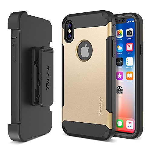 Trianium Duranium Holster Case Compatible with iPhone Xs & iPhone X Case (5.8' Phone ONLY) [Heavy Duty Full-Body Protection] Built-in Screen Protector/Belt Clip Holder with Kickstand - Gold