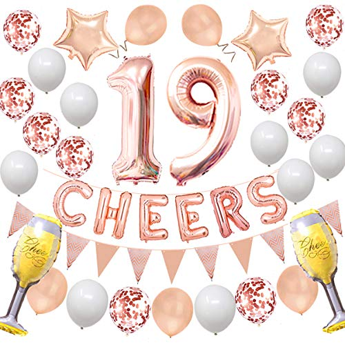 Cheers 19TH Birthday Wedding Party Decorations Kit - Rose Gold Number Balloons and More Perfect for 19 Years Old Party and 19TH Wedding Anniversary or Graduation Anniversary Rose yujiaonly