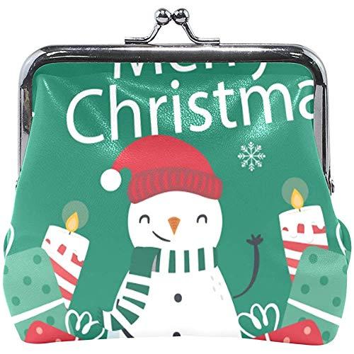 Brieftasche Frohe Weihnachten Schneemann Geschenk Kerzen Grün Rot Münze Geldbörse Beutel Leder Wechselhalter Karte Handtasche