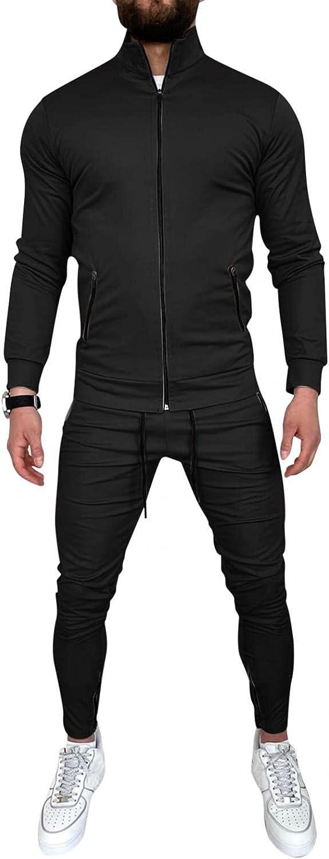 XUNFUN Men's Tracksuits Set Full-Zip Sweatshirt Jogger Sweatpants Warm Sports Suit Gym Workout Training Wear 2 Piece Outfits