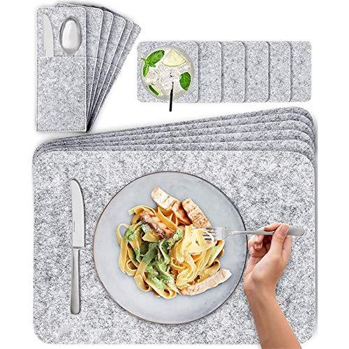 MJS Platzdeckchen, Filz Tischset Waschbar for Ostern Tischdekoration Cuttlery Taschen Glasuntersetzer Set von 6 44X30 cm Dunkelgrau
