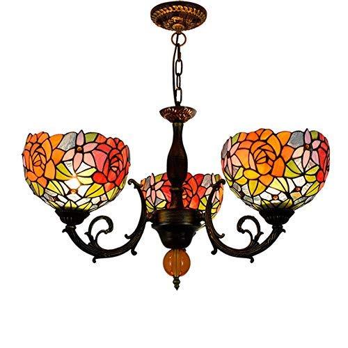 WTTWW Techo de la Sala Luz Lámpara Pendiente de Tiffany lámpara de Cristal Rosa magnífica Cortinas de la lámpara 3 Armas de la lámpara de Techo con invertido