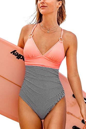 CUPSHE Damen Badeanzug mit Ringen Triangel Raffung Bauchweg Einteilige Bademode Swimsuit Rosa L