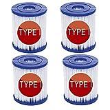 LIANHUAA Filtro de piscina para Bestway cartucho de filtro tamaño 1, sustituye a los cartuchos de filtro para piscina, para Bestway tipo I para filtro de limpieza de piscina hinchable (4 unidades)