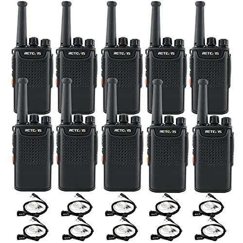 Retevis RT67 Walkie Talkie with Earpiece,Mini 2 Way Radios with USB Charging,3000mAh Large Capacity Battery Flashlight,Handheld Two Way Radio for Adults,School Church Business(10 Pack)