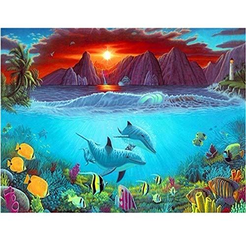 5D Pintura Diamante Kit DIY Taladro Completo Grande Punto Cruz Adultos Niño Cristal Rhinestone Bordado Puzzle Arte Home Pared Decor Montaña del mar 50x150cm Square Drill Q7809
