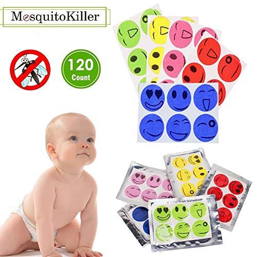 Comeb Mückenflicken, 3 cm, wiederverschließbar, 120 Stück, 24 Stunden Schutz, auf Haut und Kleidung, Erwachsene, Kinder, 5 Farben
