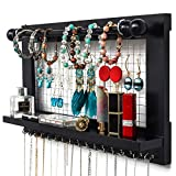 """YOUTHUP Wall Mounted Mesh Jewelry Organizer with Removable Rod & Hook, Wooden Earring Holder with Shelf, 17.5 x 3.0 x 10"""" (Black)"""