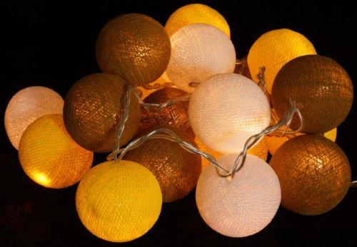 Guru-Shop Stoff Ball Lichterkette, LED Kugel Lampion Lichterkette - Gelb/braun/weiß, Baumwollfäden, Lichterketten
