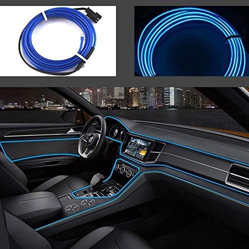 Luces de alambre de neón con adaptador USB para luces interiores de coche (azul, 5 m/16 pies)