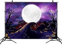 新しい10x7ftハロウィーンの悪夢の背景パンプキンの森紫の空月の背景写真撮影ベビーシャワーBrthdayパーティーケーキテーブルバナーポートレート写真ブースの小道具