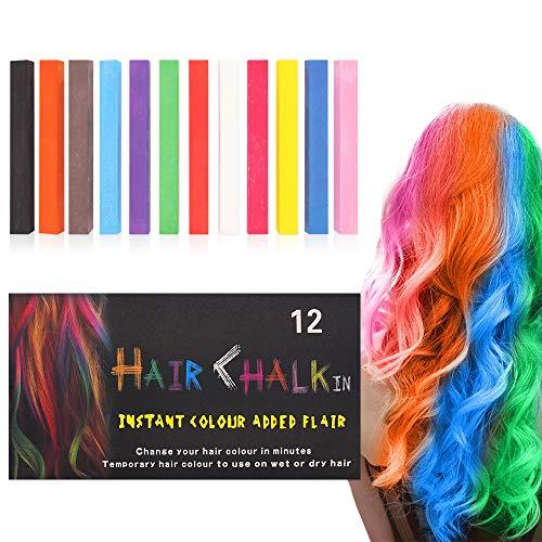 Capelli Gesso,Gessetti per Capelli Temporanei,Gessetti per Capelli Non Tossici Lavabili per Bambini, Adulti e Cosplay fai da te,funziona su tutti i colori di capelli (12 Colore)