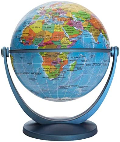 """Waypoint Geographic GyroGlobe 4"""" Educational Blue Oceans - UP-to-Date Compact Mini Globe Swivels in All Directions - Perfect for Small Spaces at Home, Office & Classroom"""