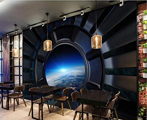 Fototapete Raumschiff Fenster Universum Sternenhimmel Home Schlafzimmer Wohnzimmer Wanddekoration 3D Hintergrund Bild Riesenplakat-250cmx175cm(LxH)