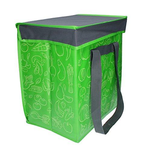 elasto Faltbare Kühltasche Groß -Fresh- Faltbox für Lebensmittel Shopper Grün Faltbare Tasche (40 Liter)