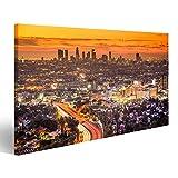bilderfelix Cuadro Lienzo Los Angeles California USA Centro de la Ciudad al Amanecer Impresión Lienzo Formato Grande Cuadros Modernos SVR