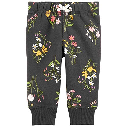 Carter's Baby Girl Joggers Design floral preto, Charcoal Green Pink Yellow, 12 Months